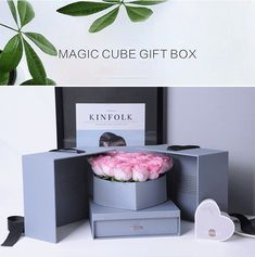 Custom Opening Flower Gifts Box With For Valentine's Day,Double Opening Gift Box,Flower Packaging Square Boxes Flower Packaging, Gift Box Packaging, Flower Box Gift, Flower Boxes, Diy Gift Box, Diy Gifts, Gift Boxes For Women, Gift Box Design, Cardboard Gift Boxes