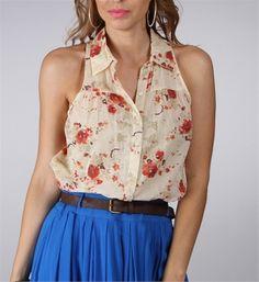 Oatmeal Floral Sleeveless Collar Top