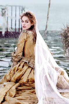 Kiera Knightly is seen here in a Crinoline dress in Pirates of the Caribbean. It is very ornate and very wide as were dresses during that time period.
