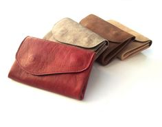 leather wallet, Women nude/ bordeaux / washed brown purse, leather clutch, coins wallet