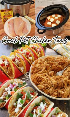 3-Ingredient Crock Pot Chicken Tacos! A super simple slow cooker recipe for shredded Mexican chicken taco meat made with chicken breasts perfect for tacos, burritos, rice bowls and more made with only three ingredients. Crock Pot Tacos, Crock Pot Slow Cooker, Crock Pot Cooking, Slow Cooker Chicken, Slow Cooker Recipes, Crockpot Recipes, Chicken Recipes, Cooking Recipes, Crockpot Dishes