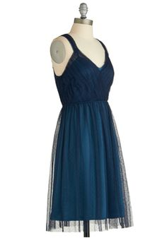 Wear This! Sway Through the Soiree Dress, #ModCloth. Vintage appeal, very cute and a great shade of blue with a black sheer balance. $99.99