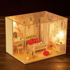 Meble dla domu z drewna dla lalek Zestaw dla domu dla lalki DIY Składane zabawki dla dzieci / prezent dla przyjaciela Słodki i piękny sen DIY Domowa zabawka