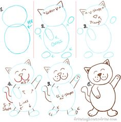 Draw a Happy Dancing Cartoon Cat with a Number 8 Shape