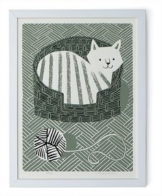 Nice black, white and gray patterns. Cat in a basket... by Lisa Jones Studio