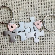 You are my missing piece puzzle piece Keychains set his and her gift best friend…