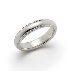 The perfect wedding ring. Milgrain wedding band ring in platinum, 4mm wide.