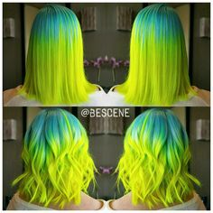 "Top Post of the Day! ""Radioactive Paradise"" Color by Linh Phan of Bescene; style by Maayan Birnstein. Neon hair. Pravana. fb.com/hotbeautymagazine"