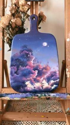 Small Canvas Paintings, Diy Canvas Art, Cool Paintings, Painting On Wood, Sky Painting, Acrylic Paint On Wood, Galaxy Painting Acrylic, Canvas Painting Tutorials, Miniature Food