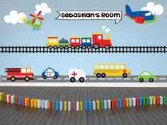 Includes a train decal, plane decal, firetruck decal, bus decal, car decal, helicopter decal, name decal, personalized name decal. This colorful scene of transportation vehicles is the perfect way to liven up your little boys room! This set has everything you need! A bus, police car, ambulance, train, semi truck, helicopter and a couple planes! Worried about the decals not sticking? Try our product risk free! 100% MONEY BACK GUARANTEE within 30 days of receiving your shipment. If your…