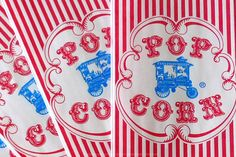 50 Retro Circus Popcorn Bags - Circus Birthday, Circus Party Blue Wagon and Red Stripe Bags on Etsy, $6.50
