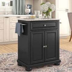 Red Barrel Studio® Behling Prep Table with Butcher Block Top & Reviews   Wayfair Kitchen Island With Granite Top, Kitchen Island Cart, Kitchen Island With Seating, Granite Tops, Granite Kitchen, Kitchen Countertops, Kitchen Cabinets, Wooden Island, Space Saving Kitchen