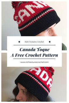 """Canada"" Toque - a free crochet pattern #Canada #Olympic #hat #freecrochetpattern"