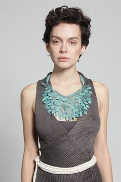 Inbar Shahak - big statement necklace Verdigris green blue Leaf metal lace - 254€ on Etsy