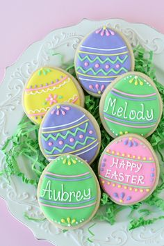 Must have cookies with Grandchildren's names! Cute and Easy Decorated Easter Egg Cookies - by Glorious Treats