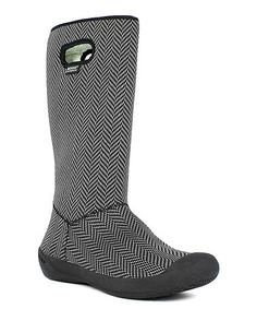 Look at this #zulilyfind! Black & White Summit Knit Waterproof Tall Boot…