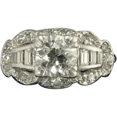 Vintage Art Deco 0.99ct Old European Cut Diamond Center - vintage, antique, contemporary wedding and engagement rings at www.rubylane.com @rubylanecom