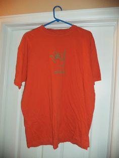 Men's Orange & Grey CROCS Hand Logo Crew Neck Short Sleeve Shirt, Size XL, GUC! #CROCS #CrewNeck