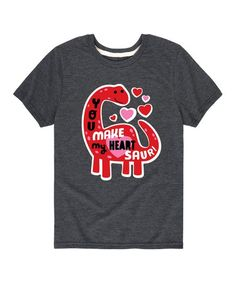 7d2abf71a8c0 Instant Message Heather Charcoal You Make My Heart Saur Tee - Toddler &  Kids | zulily