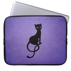Purple Gracious Evil Black Cat 15in Computer Sleeve