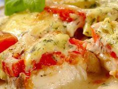 Ryba zapečená s rajčaty.