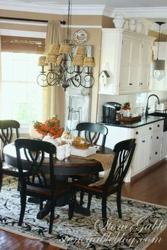 FEATURED AT SAVVY SOUTHERN STYLE. Create casual space in kitchen and get the most of 1 space.use other room as formal dining area Kitchen Redo, Kitchen Remodel, Kitchen Dining, Dining Table, Nook Table, Dining Area, Tan Kitchen Walls, Kitchen Nook, Kitchen Colors