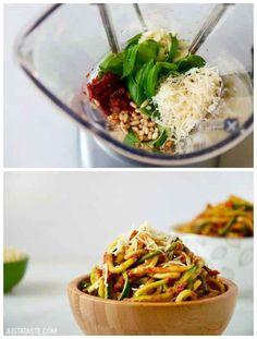 Sundried Tomato Pesto and Zucchini Noodles