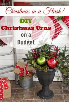 Make your own beautiful and festive diy Christmas urns for cheap!