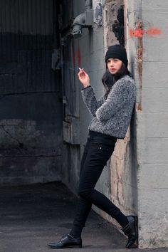 cigarett break, sweater, fashion winter, winter style, couture