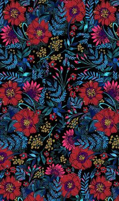 Hand-Painted Florals from Natalia Gemma Design. Natalia creates and sells original patterns for fashion, home and paper products. Colorful Wallpaper, Flower Wallpaper, Pattern Wallpaper, Iphone Background Wallpaper, Phone Backgrounds, Wallpaper Fofos, Motifs Textiles, Psychedelic Art, Pics Art