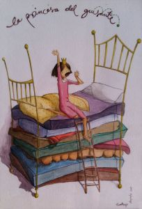 la princesa del guisante. . Ilustración de Eva Bajo