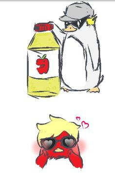 demonlucy-chan:  More Strider Penguins~!My art >:3Bro brought some Apple Juice back for Dave :3