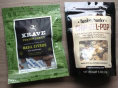 POPSUGAR Special Edition Holiday Box for Him Review Krave Turkey Jerky in Basil Citrus – Value $7  Funky Chunky Chip-Zel-Pop – Value $6.50