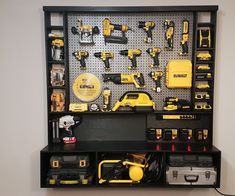 Woodworking Training Picture of DIY Power Tool Storage W/ Charging Station - Let's build this awesome power tool wall storage system. I had to organize my power tools in my shop, and decided to design and build this wall storage unit. Tool Wall Storage, Power Tool Storage, Wall Storage Systems, Diy Garage Storage, Storage Ideas, Lumber Storage, Record Storage, Storage Cart, Power Tool Shop