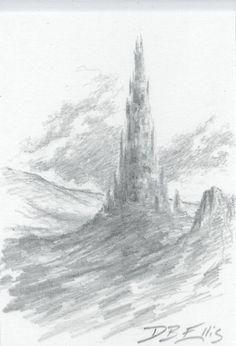 BARAD-DUR by David Ellis original fantasy art, ACEO, tolkien, lotr