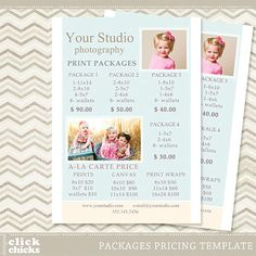 Photography Print Package Pricing List Template - Portrait Photography Pricing - Price Sheet - Price Guide 010 - C068, INSTANT DOWNLOAD