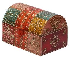 "Bulk Wholesale Handmade 7"" Trunk-Shaped Wooden Jewelry Box Decorated with Traditional Style Cone-Painting Art in Orange & More Colors – Antique-Look Boxes with Metal Handles"