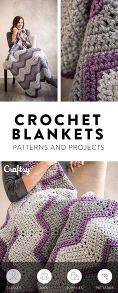 There's nothing better than a hand-made snuggly blanket. These DIY crochet blanket projects come complete with a printed pattern and all the yarn you need to crochet yourself a new sofa essential. #crochetblanket #handmadeblanket #homemadeblanket #babyblanket #diyhome #biyblanket