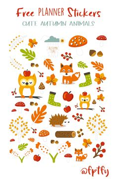Free Cute Autumn Animal Clip Art and Planner Stickers! - Free Pretty Things For…