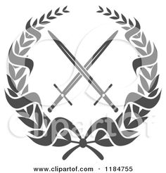 1184755-Clipart-Of-A-Heraldic-Grayscale-Laurel-Wreath-Around-Crossed-Swords-2-Royalty-Free-Vector-Illustration.jpg (450×470)