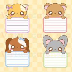 Kawaii Animal Lists Clipart - Chibi, Kawaii, Animal Labels, Peek A Boo, Cute… Bullet Journal Cover Ideas, Bullet Journal Lettering Ideas, Cute Planner, Happy Planner, Wallpaper Travel, Round Robin, Chibi, Homemade Stickers, List Of Animals