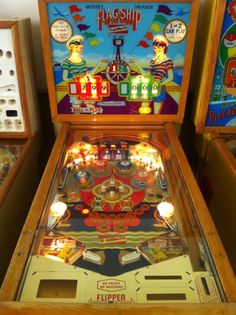 1957 Gottlieb Flag Ship woodrail pinball machine Game has been sold Video Game Machines, Arcade Game Machines, Arcade Machine, Vending Machine, Arcade Games, Pinball Games, Flipper Pinball, Pinball Wizard, Penny Arcade