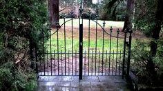Decorative Double Wrought Iron Walk Gate with fleur de lis finials Wrought Iron Fences, Woodworking Ideas, Gates, Deck, Outdoor Decor, Decks, Gate, Decoration