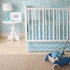 Zig Zag Baby in Aqua Baby Bedding Set