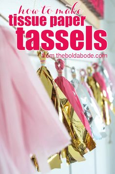 This Tissue paper garland is SO FUN! Learn how to Make Tissue Paper Tassels in this VERY DETAILED and thorough tutorial with theboldabode.com!