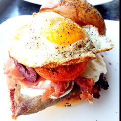 Chivito Sandwich w/ Roast Beef, Prosciutto, Bacon, Mozzarella, Portabello Mushroom, Red Onion, Tomato, Egg, Sweet Chili Aioli
