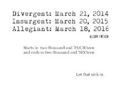 ~Divergent~ ~Insurgent~ ~Allegiant~ (Observation: this series is going against the flow and not splitting the last book in two)