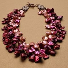 Pinks, reds, and pearls all over.