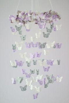 lavender and gray baby shower | Lavender, Gray, White Butterfly Mobile, Baby Shower Gift ...