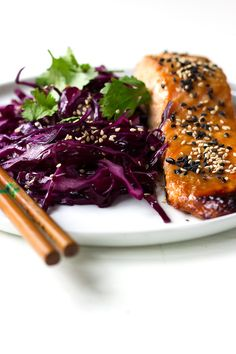 Miso Salmon with Sesame Red Cabbage!